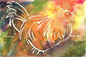 watercolour of cockerel