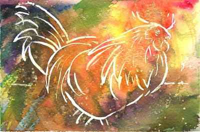 watercolour of cockerel