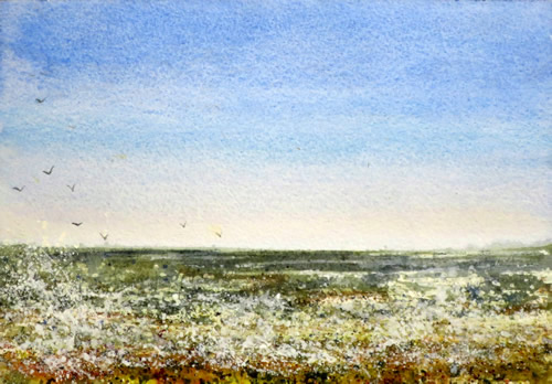 watercolour painting of seascape