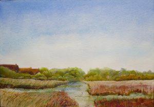 watercolour painting of Suffolk saltmarsh