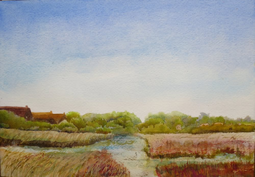 watercolour painting of Suffolk saltmarsh